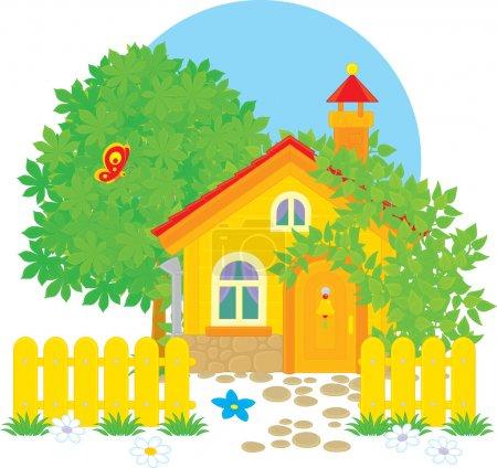 Illustration for Yellow Village house - Royalty Free Image