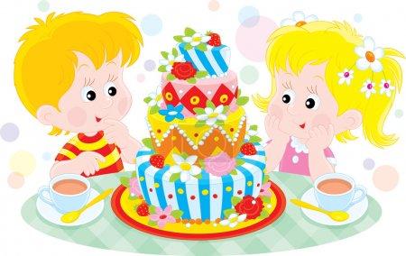 Illustration pour Fille et garçon avec un grand gâteau d'anniversaire coloré - image libre de droit