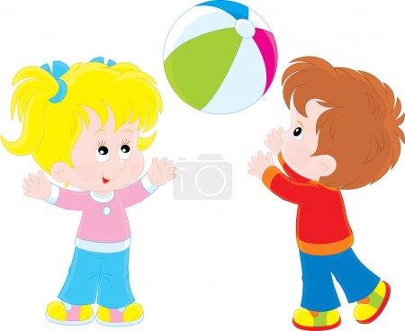 Girl and boy playing a ball