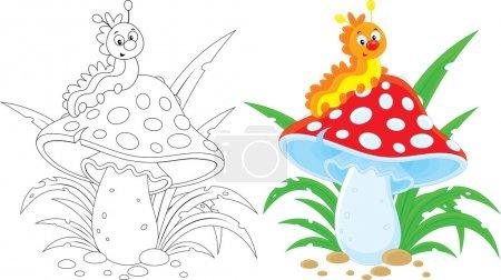 Photo pour Tracé et coloré chenille heureuse sur un champignon . - image libre de droit