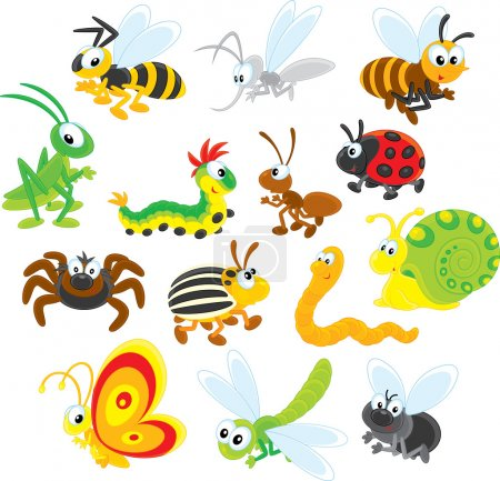 cute happy insects.