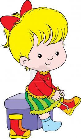 Photo pour Petite fille blonde assise sur un cube et portant ses bottes, sur un fond blanc . - image libre de droit