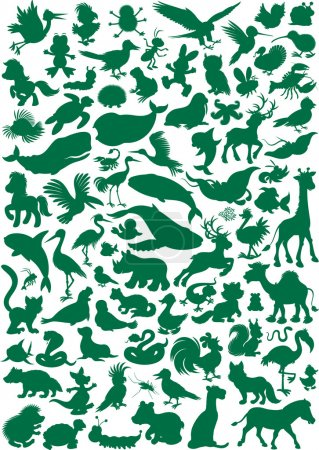Illustration for Big vector set of animal silhouettes isolated on a white - Royalty Free Image