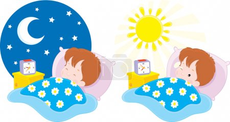 Illustration for Boy sleeping by the night and waking up in the morning - Royalty Free Image
