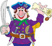 Pirate holding a sword and a treasure map