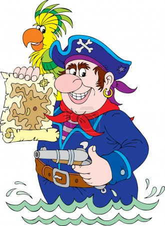 pirate holding a pistil and a map