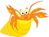 Sea crawfish in his shell