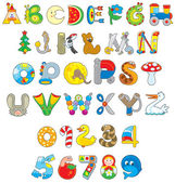 English alphabet and numerals with toys vector set