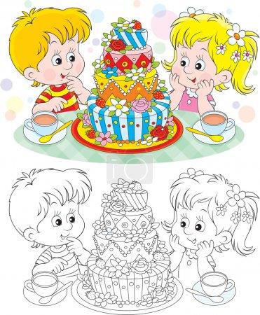 Illustration pour Petite fille et garçon avec un gros gâteau d'anniversaire - image libre de droit