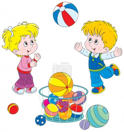 Illustration for Girl and boy playing a big colorful ball - Royalty Free Image