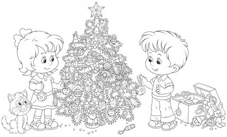 Illustration for Little girl and boy with their kitten decorate a fir to holiday, black and white outline illustration isolated on a white background - Royalty Free Image