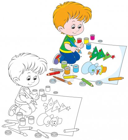 Illustration for Boy drawing a picture with a funny snowman and Christmas tree - Royalty Free Image