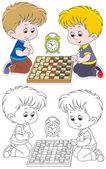 Children play checkers
