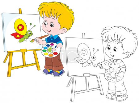 Illustration for Boy drawing a picture with a funny cartoony butterfly - Royalty Free Image