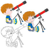 Boy looking through a telescope three versions of the illustration