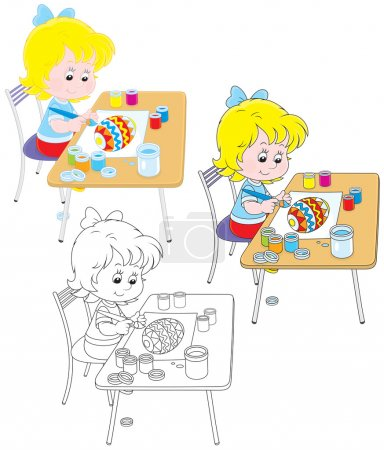 Illustration for Little girl drawing a colorfully decorated Easter egg, three versions of the illustration - Royalty Free Image