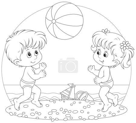 Children play a ball