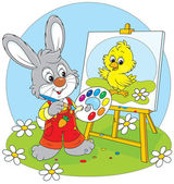 Little rabbit draws a small Easter chick