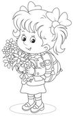Little schoolgirl with a schoolbag and holiday bouquet of flowers