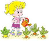 Ragazza acquolina carote