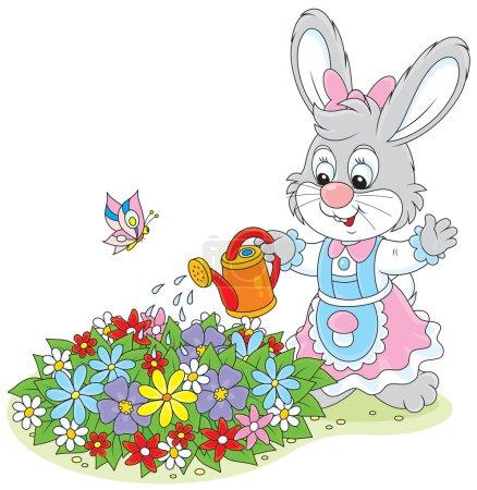 Illustration pour Petites fleurs d'arrosage de lapin sur un lit de fleurs dans un jardin - image libre de droit
