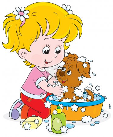 Girl washing a puppy