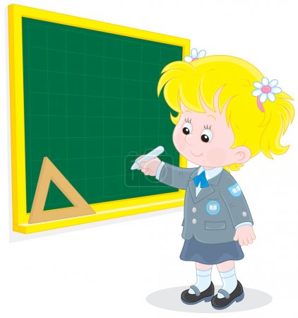 Illustration for Elementary school student writing with chalk on the school blackboard - Royalty Free Image