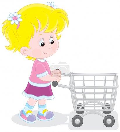 Illustration pour Petit acheteur allant avec un chariot de supermarché pour faire du shopping - image libre de droit
