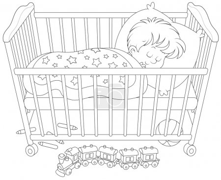 Illustration for Little boy sleeps in his bed in a kids bedroom with toys - Royalty Free Image