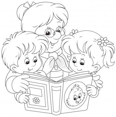 Grandma and grandchildren reading