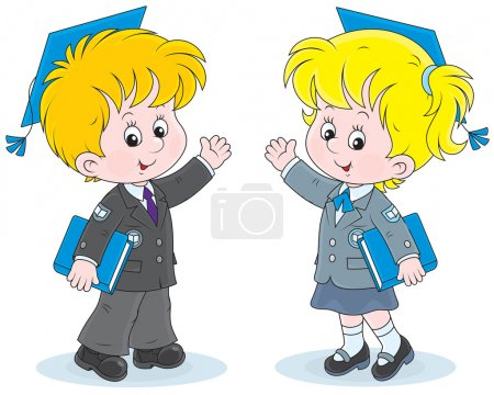 Schoolchildren with trencher-caps