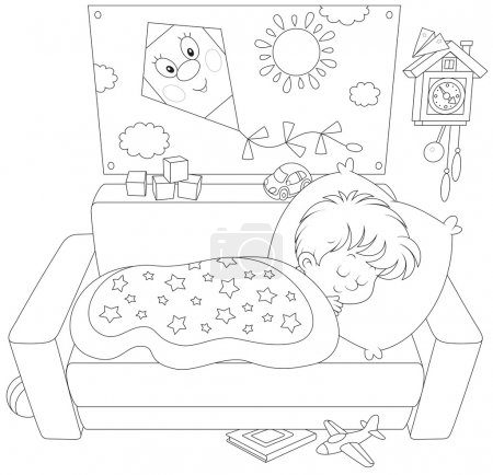 Illustration for Little boy sleeping on his couch in a kids bedroom with toys - Royalty Free Image