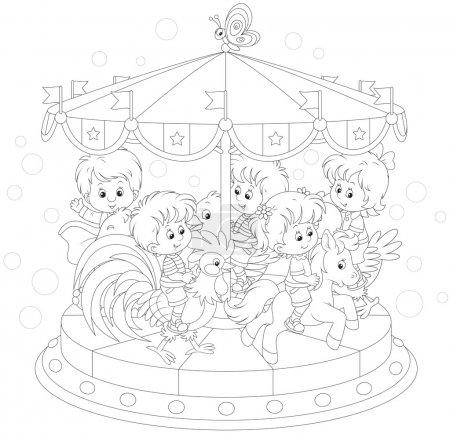 Illustration pour Enfants chevauchant un drôle de manège dans un parc amusant - image libre de droit