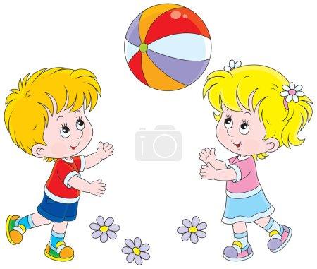 Illustration pour Petite fille et garçon jouant avec leur grosse boule colorée - image libre de droit