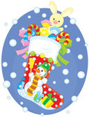 Colorful gift sock with a funny snowman bunny and sweets for holidays