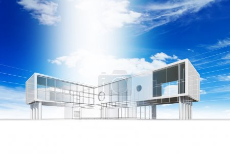 Foto de Construcción de cabañas. Alta calidad 3d render - Imagen libre de derechos