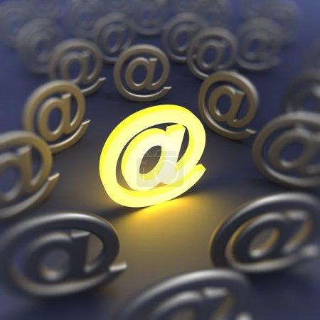 Photo pour Signe d'e-mail déconcentré. Image de rendu 3d - image libre de droit