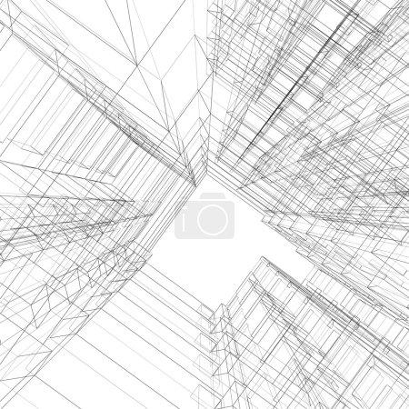 Foto de Arquitectura abstracta. imagen de render 3D - Imagen libre de derechos