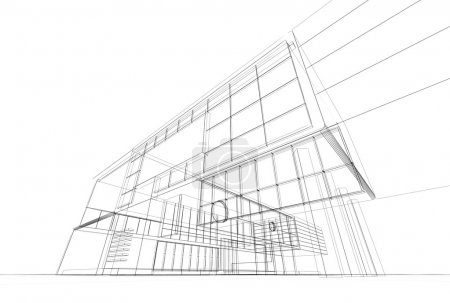 Architecture blueprint on white background...