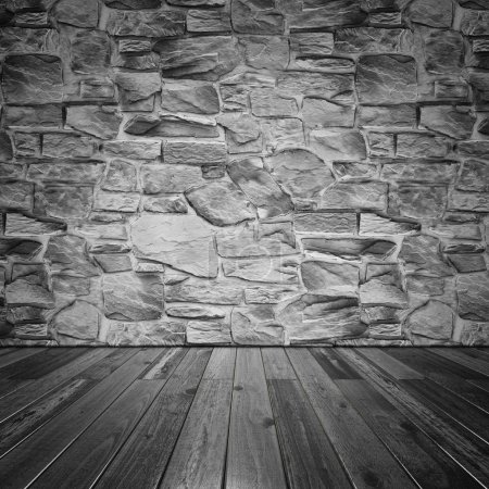 Stone wall and wood floor