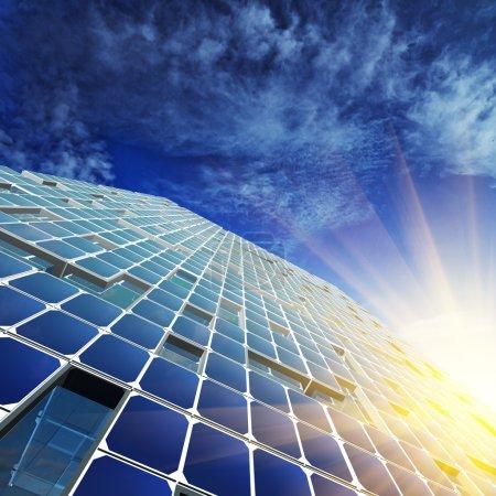 Photo pour Architecture abstraite. Skyscraper design, ciel et modèle 3D le mien - image libre de droit