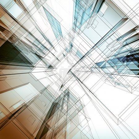 Photo pour Contexte architectural abstrait. Conception architecturale et modèle 3D le mien - image libre de droit
