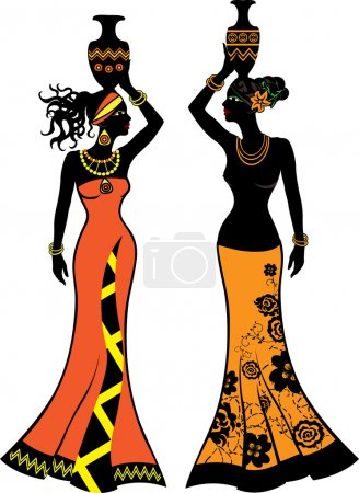 Illustration for Beautiful African woman with vases, two versions - Royalty Free Image