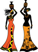 Beautiful African woman with vases two versions