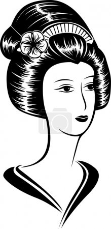 Illustration for Portrait of a beautiful Asian woman, black stencil - Royalty Free Image