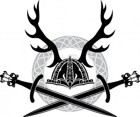 Illustration pour Casque avec bois et épées vikings, pochoir - image libre de droit