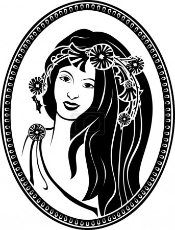 Illustration for Medallion vignette,  portrait of a girl in a wreath, black stencil - Royalty Free Image