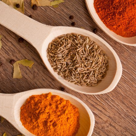 Closeup spices on spoon