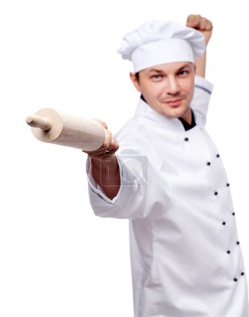 Cook in uniform with rolling pin