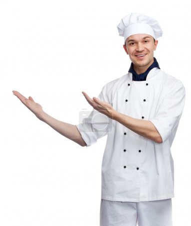 Happy chef with welcoming gesture